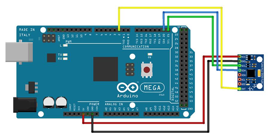 Esquema MPU6050 com Arduino MEGA